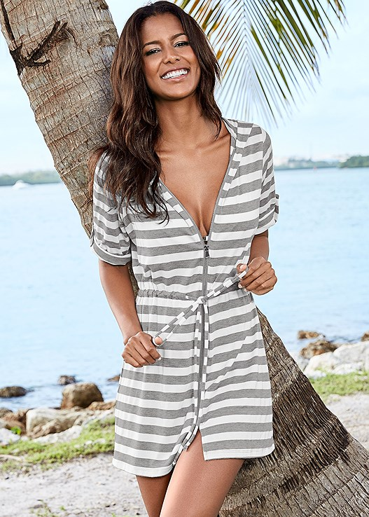 ZIP FRONT HOODED DRESS,MARILYN PUSH UP BRA TOP,HIGH WAIST MODERATE BOTTOM