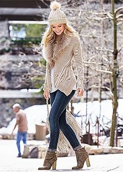 faux fur zipper cardigan