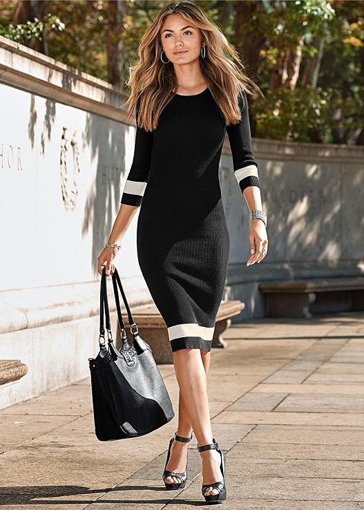 20c6f4e1a7c Black Multi COLOR BLOCK SWEATER DRESS from VENUS