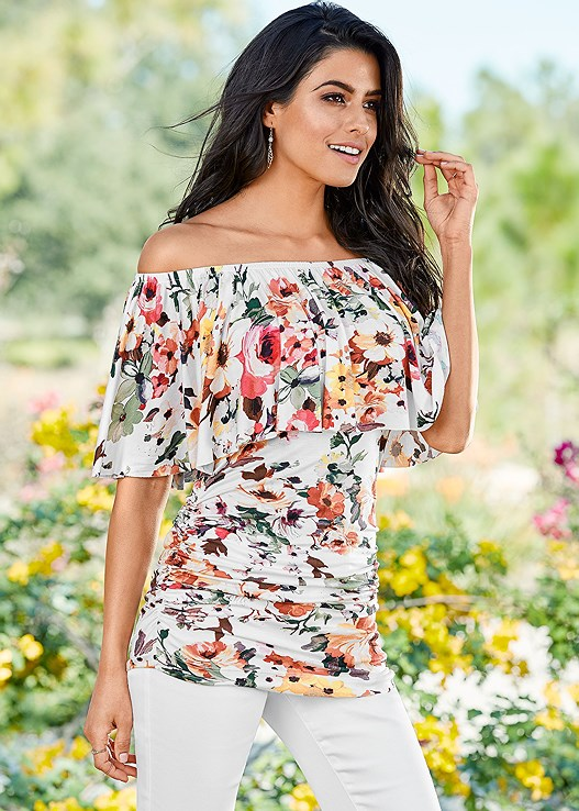 Floral Multi RUCHED OFF THE SHOULDER TOP  88fcac663