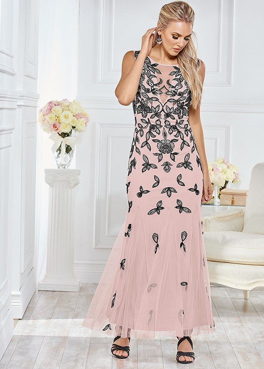EMBELLISHED GOWN,EMBELLISHED STRAPPY SANDAL