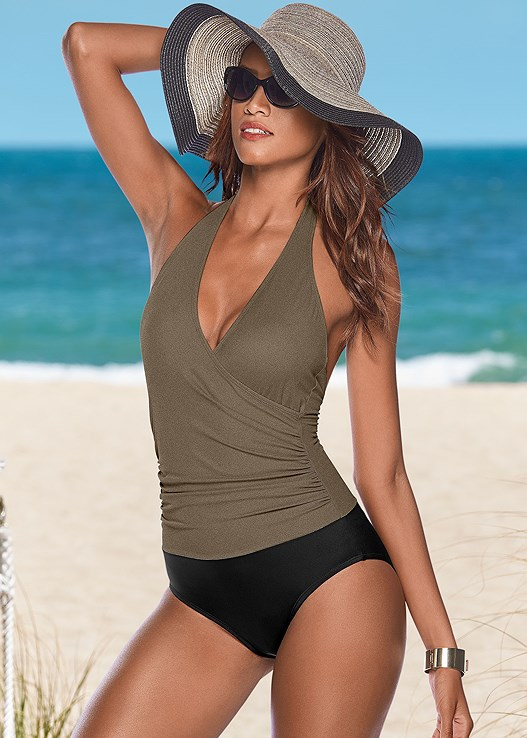 WRAP FRONT HALTER ONE-PIECE,FLOPPY STRAW HAT