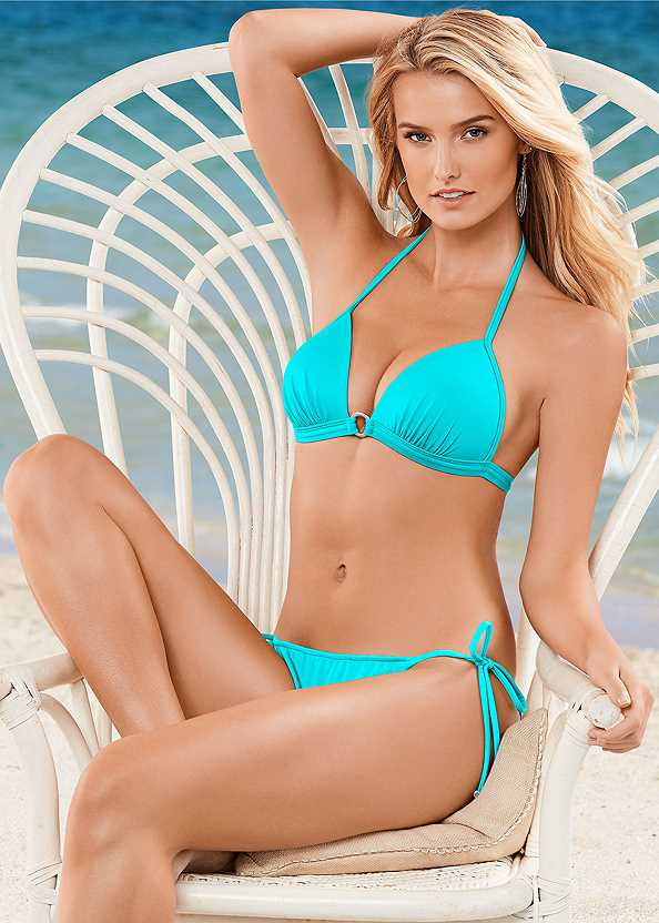 Enhancer Push Up Ring Halter Triangle Top ,String Side Bikini Bottom,Low Rise Classic Bikini Bottom ,Scoop Front Classic Bikini Bottom ,Mid Rise Strappy Bottom,Low Rise Moderate Bottom,Braided Tie Strap Cover-Up Dress,Strappy Toe Ring Sandals