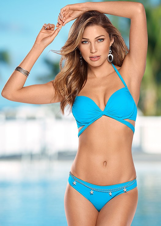 WRAP AROUND PUSH UP TOP,FRINGE SKIRTED BOTTOM,STARFISH BELLY CHAIN,HEADBAND