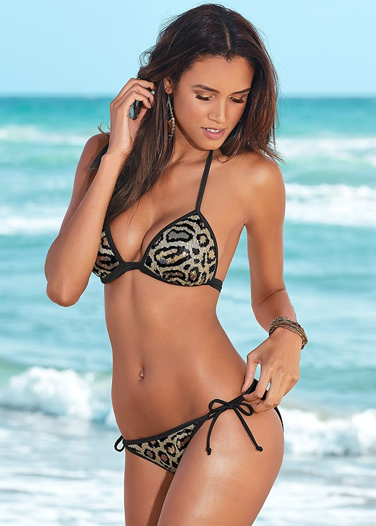 ENHANCER PUSH UP TRIANGLE,SCOOP FRONT BIKINI BOTTOM,STRING SIDE BIKINI BOTTOM,RUFFLE EDGE LOW RISE BOTTOM,BELL SLEEVE COVER-UP