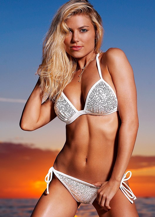 bf4dfd7b43ebc White Sequins ENHANCER PUSH UP TRIANGLE Bikini | VENUS