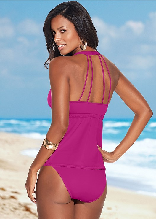 MID RISE FULL CUT BOTTOM,MID RISE BOTTOM,LACE DETAIL TANKINI,MULTI WAY BANDEAU TOP,CROCHET COLD SHOULDER TOP