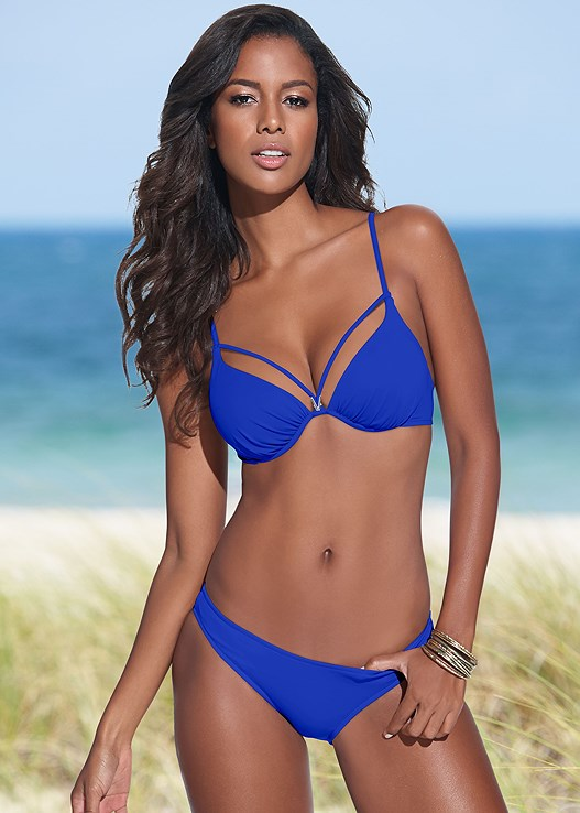 ENHANCING VALENTINA PUSH UP,SCOOP FRONT BIKINI BOTTOM,LOW RISE BIKINI BOTTOM,ASYMMETRICAL BOTTOM