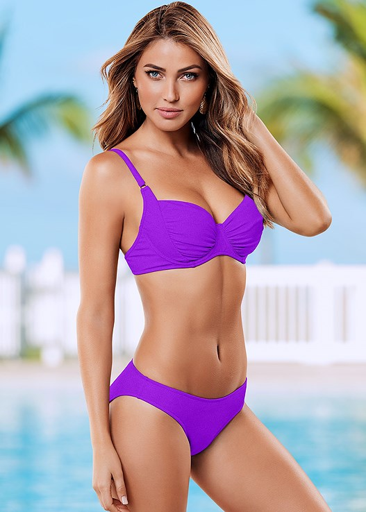 SOFIA BRA TOP,SCOOP FRONT BIKINI BOTTOM,RUCHED WAIST BOTTOM,HEADBAND