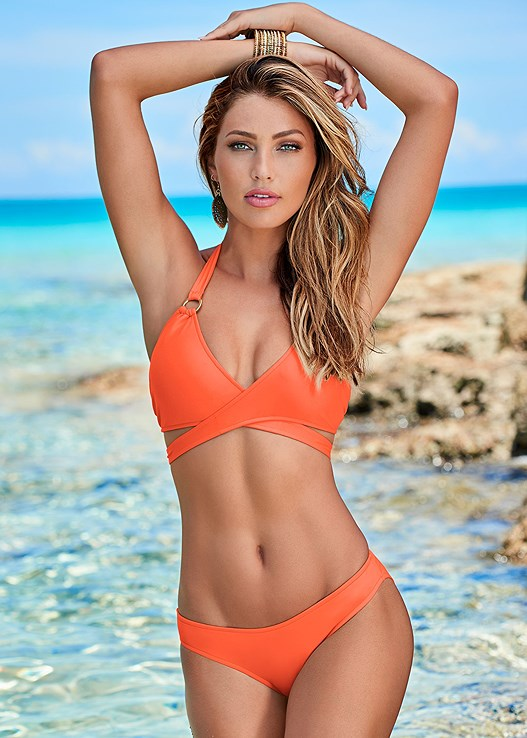 WRAP HALTER BIKINI TOP,SCOOP FRONT BIKINI BOTTOM,LOW RISE BIKINI BOTTOM,RUCHED WAIST BOTTOM,VIXEN LOW RISE BOTTOM,SCRUNCHIE
