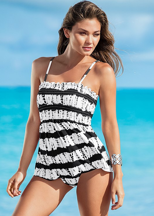 HIGH WAIST FULL CUT BOTTOM,HIGH WAIST MODERATE BOTTOM,SLIMMING TANKINI TOP,GROMMET SMOCKED TANKINI,GODDESS FULL TANKINI