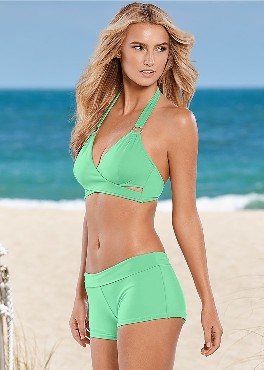 BONITA WRAP HALTER,RUCHED WAIST BOTTOM