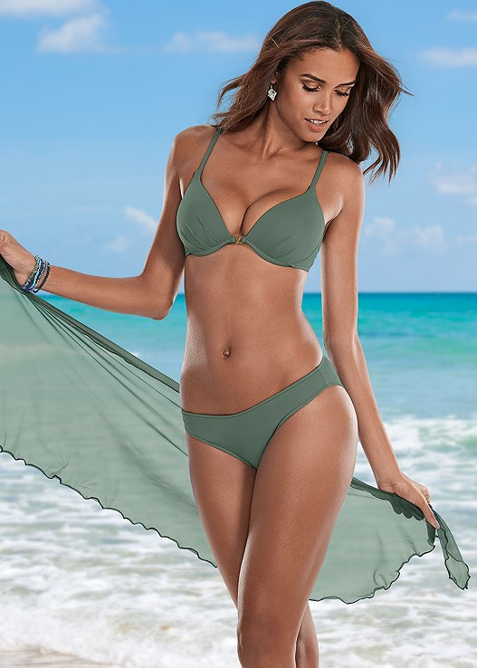 ENHANCER PUSH UP BRA,LOW RISE BIKINI BOTTOM,STRING SIDE BIKINI BOTTOM,SCOOP FRONT BIKINI BOTTOM,MESH WRAP SKIRT