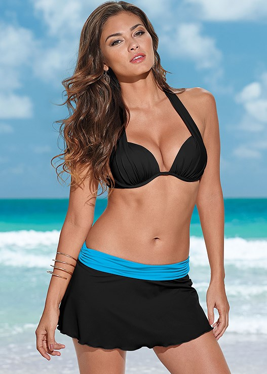e55523db4f0e3 Turquoise   Black SKATER SWIM SKIRT BOTTOM