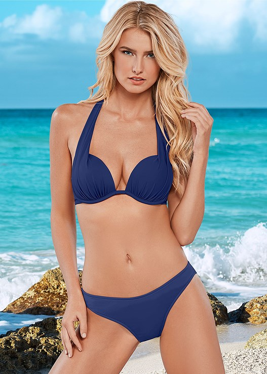 MARILYN PUSH UP BRA TOP,SCOOP FRONT BIKINI BOTTOM,LOW RISE BIKINI BOTTOM