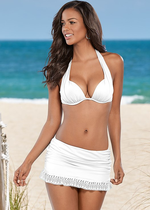 108deff5e8 Bright White LASER CUT SKIRTED BOTTOM Bikini