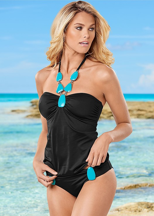 BOLD NECKLACE TANKINI,BOLD DETAILED BOTTOM