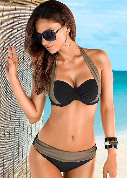 COLOR BLOCK MID RISE BOTTOM,PUSH UP BRA TOP,UNDERWIRE HALTER BIKINI TOP,V BACK ENHANCER