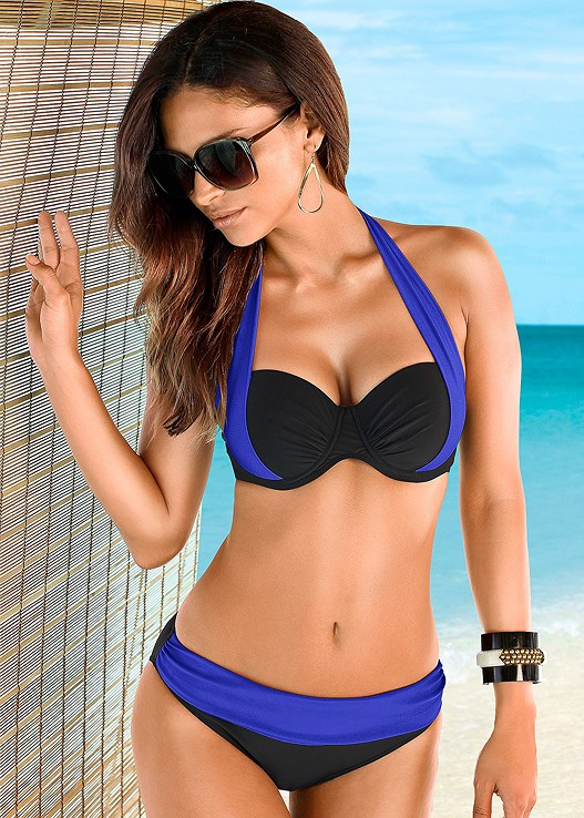 COLOR BLOCK MID RISE BOTTOM,COLOR BLOCK PUSH UP BRA TOP