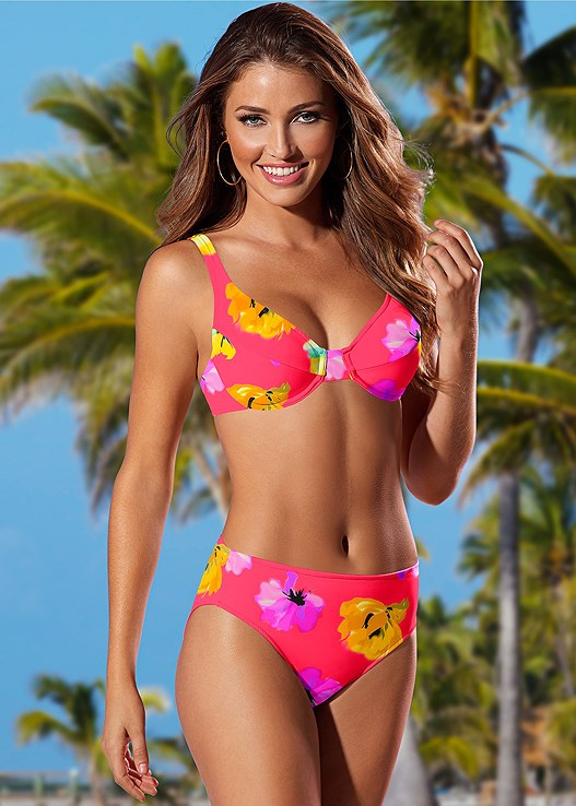MID RISE FULL CUT BOTTOM,RUCHED WAIST BOTTOM,PERFECTION PUSH UP HALTER,UNDERWIRE HALTER BIKINI TOP