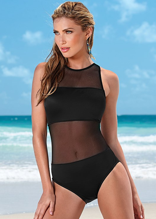 af4a8ddee12 MESH TANK ONE-PIECE Swimsuit in Black Beauty