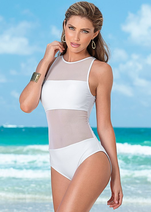 7c8e798060433 MESH TANK ONE-PIECE Swimsuit in Bright White | VENUS