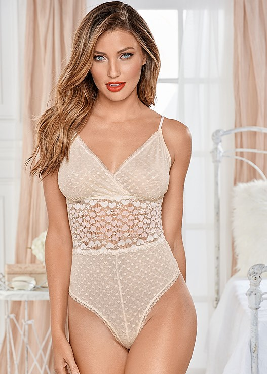 e5b5200a8d41 White HEART LACE BODYSUIT from VENUS