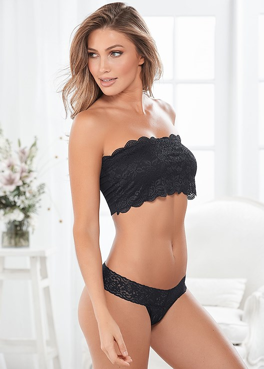 NATURAL BEAUTY LACE BANDEAU,LACE THONG 3 FOR $19