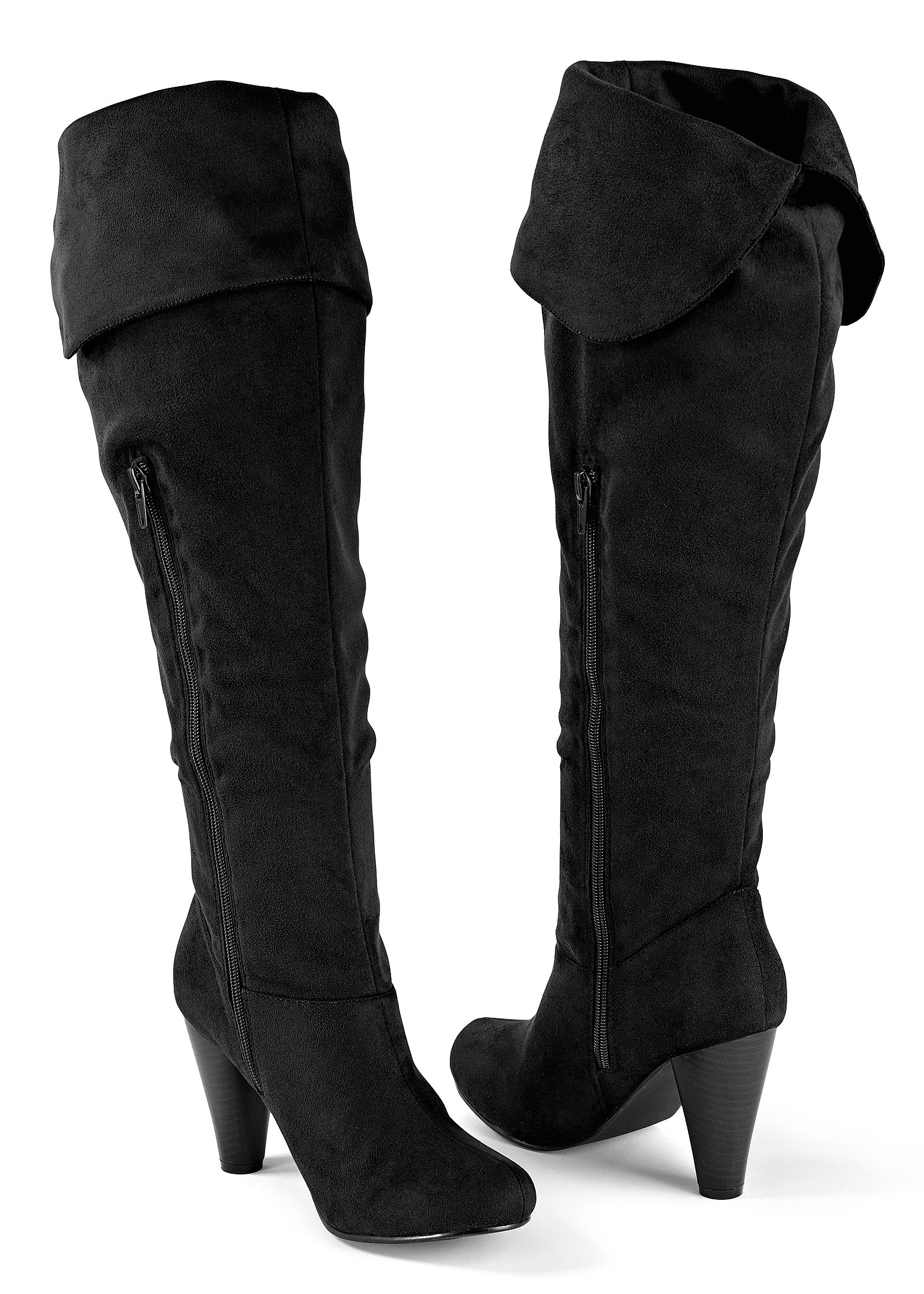 Womens Ladies Suede Faux Leather Over Knee Boots Shoes Block High Heels Classy