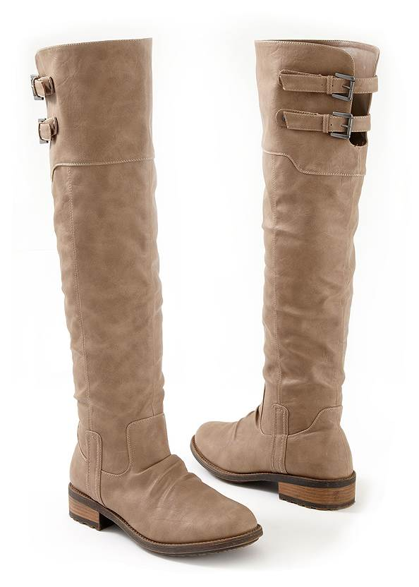 Alternate View Buckle Knee High Boots