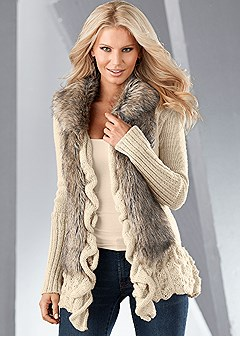 faux fur ruffle sweater