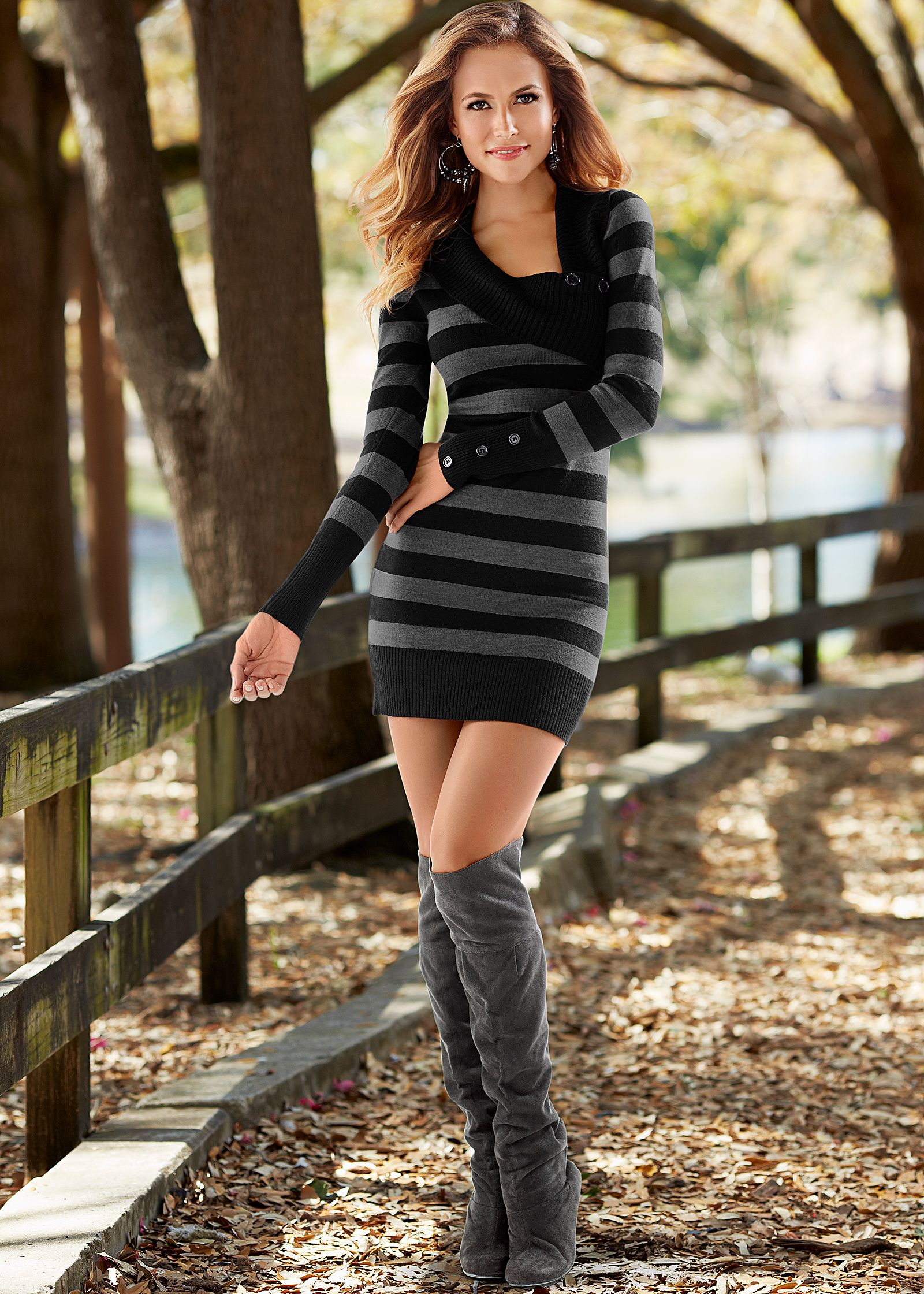 Sweater Dress and Boots Fashion Pictures
