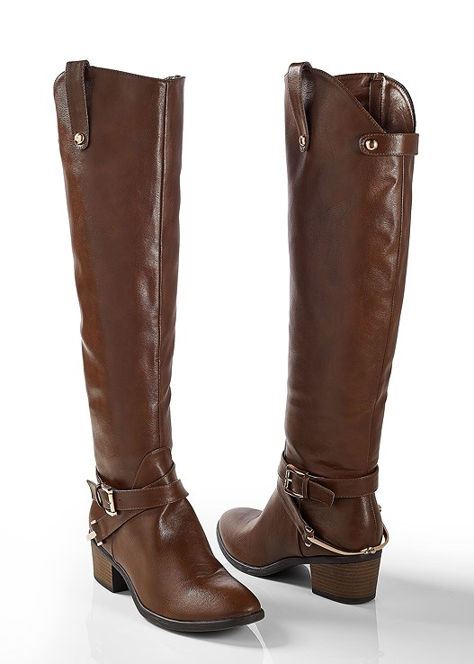 8fcd0633c4426 BUCKLE RIDING BOOT,RIBBED PEPLUM SWEATER,COLOR SKINNY JEANS