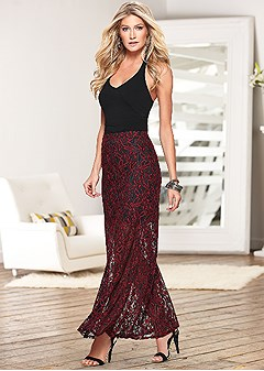 lace floral maxi skirt