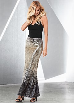 sequin ombre long skirt