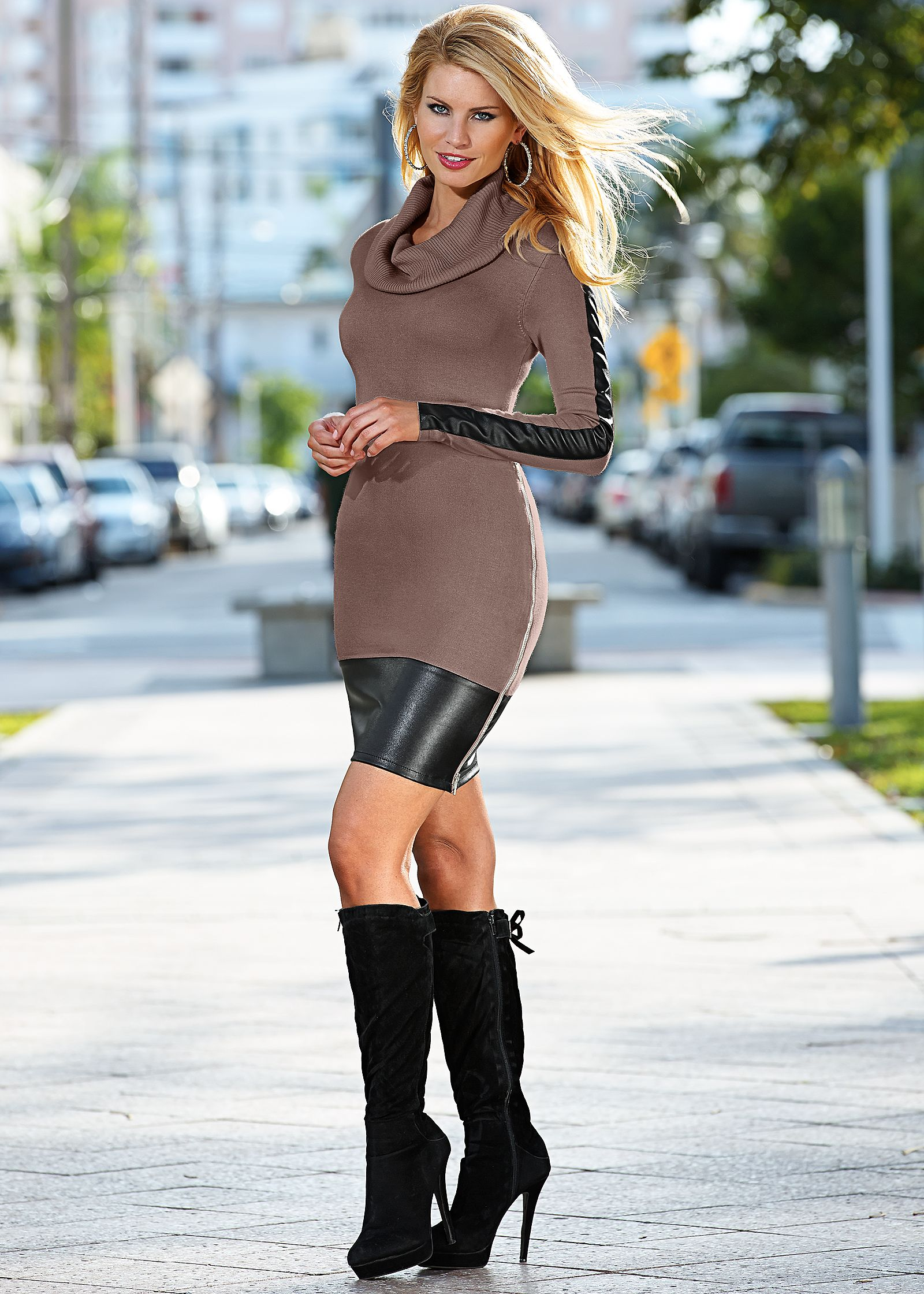 Black Sweater Dress with Leather