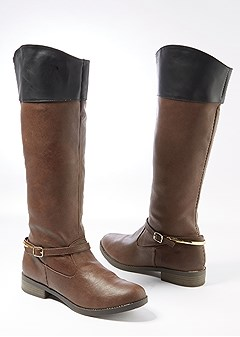 color block tall flat boot