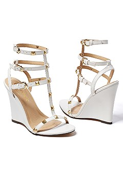 studded gladiator wedge