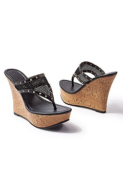 mesh wedge sandal