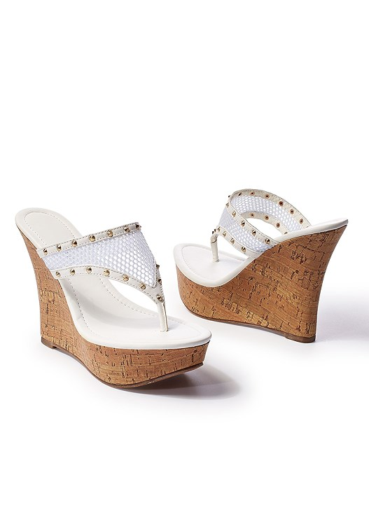 439f9e7ce White MESH WEDGE SANDAL from VENUS