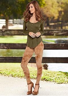 embellished print leggings