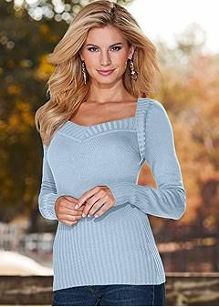 open neck sweater
