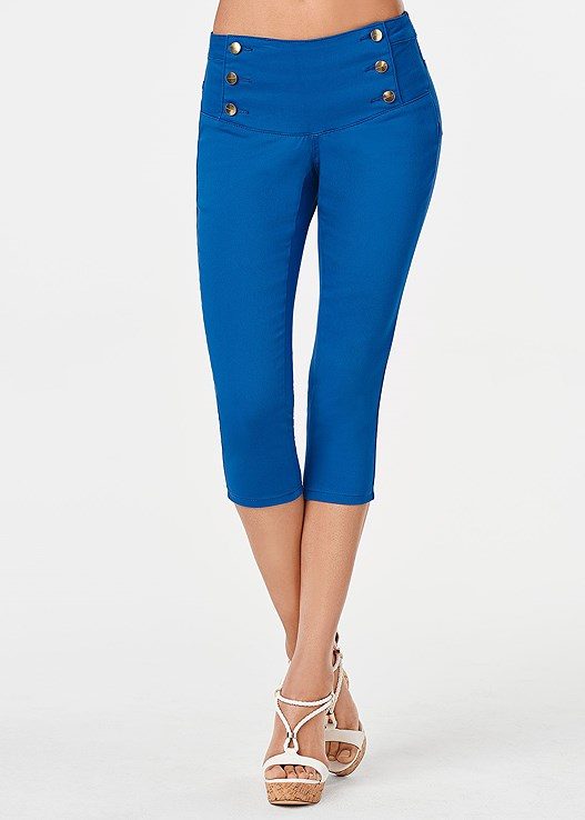 SAILOR COLORED CAPRIS,SEAMLESS CAMI,BRAIDED DETAIL WEDGE