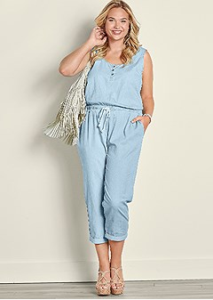 plus size jumpsuit with waist tie