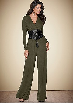 faux leather trim jumpsuit