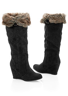 wedge faux fur boot