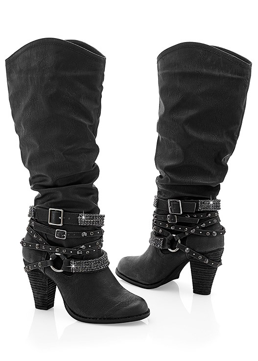 STUDDED BUCKLE BOOT,COLOR SKINNY JEANS
