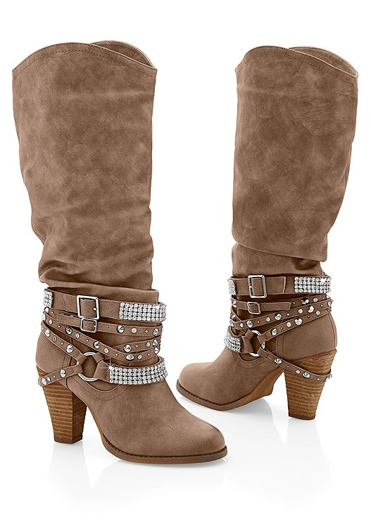 STUDDED BUCKLE BOOT,WATERFALL SHEARLING COAT,SEAMLESS CAMI,COLOR SKINNY JEANS