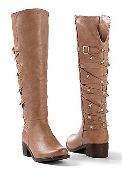 crisscross studded boot