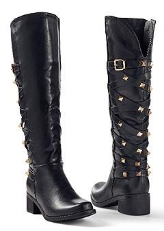 crisscross studded boot